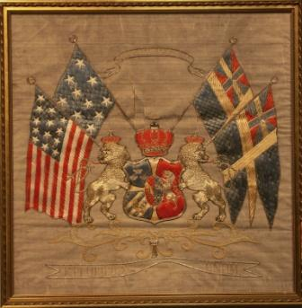 BRÖDRAFOLKETS VÄL. Union Flags and America Flags with National Coat of Arms