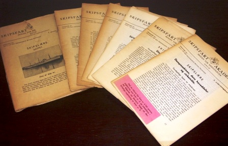 7 volumes of early 20th century teaching materials published by Oslo Maritime School.