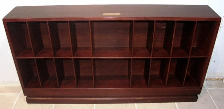"Sideboard in mahogany with brass fitting from M/S Hohenfels ""Hansa"" Bremen. Eighteen compartments."