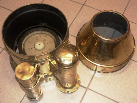 Early 20th century brass binnacle top, complete with compass made by Sestrel (Kerosene lamp missing).