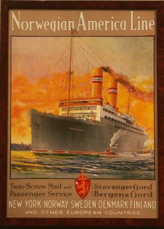 Norwegian America Line poster depicting the liner STAVANGERFJORD