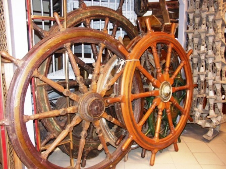 Our stock cover a great selection of 19th and 20th century wooden ships' wheels in mahogany, teak and oak, covering diameter 30cm-240cm