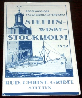 Regular routes between Stettin and Stockholm via Wisby. Dated 1934.