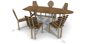 Table Mate with six different chairs