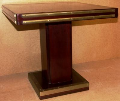Square coffee table in mahogany and brass from the Italian liner M/N Rossini.
