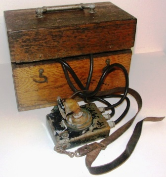 Early 20th century diving phone in original oak case.