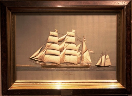 "Silk Picture depicting the full-rigged ship S/F THOR of Stockholm flying the Norwegian/Swedish Union Flag. Built 1873, Swedish shipping company ""Rederi Aktiebolag Svea"". Captain M.F. Broman."