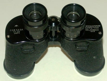 1943 Canadian binocular in black-lacquered metal. 6x30.