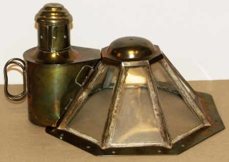 Late 19th century octagonal brass binnacle hood, complete with detachable kerosene lantern.