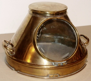 20th century brass binnacle hood with detachable top lid.