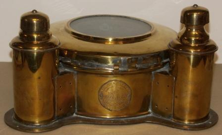 Early 20th century brass binnacle hood with detachable top lid. Incl both kerosene and electric illumination. Made by Sølver & Svarrer / Iver C. Weilbach & Co, Copenhagen.