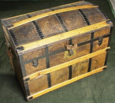 Early 20th century leather bound travellers trunk.