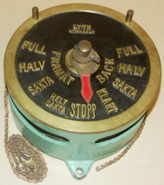 Early 20th century tugboat engine room telegraph made by Lyth, Stockholm.