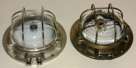 20th century electrified (low voltage) bulkhead / ceiling lamps. Brass and white metal.