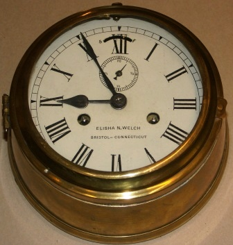 Early 20th century American Elisha N. Welch, Bristol-Connecticut ships clock made in brass.