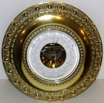 Late 19th century holosteric brass barometer made by Jver C. Weilbach, Copenhagen