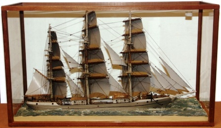 20th century sailor-made waterline-model. Depicting the fullrigged Swedish ship VANADIS of Söderhamn. Mounted in origianal case. Signed Hugo Wernbøe 1930.