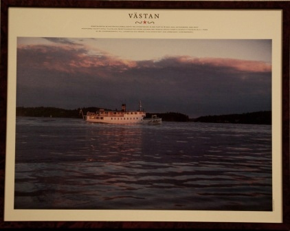 Depicting the Swedish archipelago-steamer VÄSTAN, built in 1900