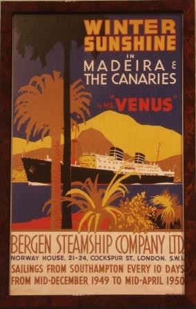 "Depicting the M.S. VENUS of the Norwegian shipping company ""Bergen Steamship Company Ltd. / Bergenske Dampskibsselskab."""