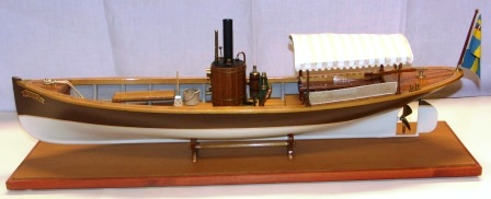 20th century built model depicting the steam-powered sloop VIOLA, flying the Swedish-Norwegian Union Flag. Complete with individually built and functional steam engine.