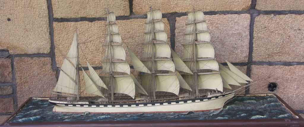 Late 19th / Early 20th century waterline model depicting the Swedish 4-masted barque LA SUÈDE of Helsingborg in full sail.