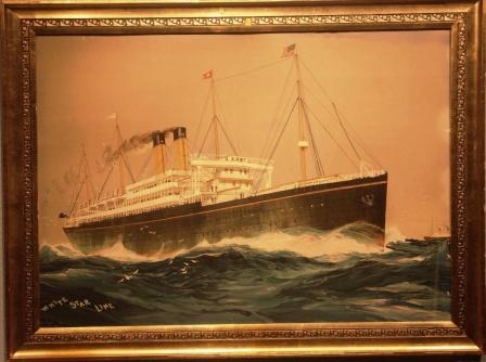 Original litho depicting a Royal Mail White Star Liner heading for the US. Original painting by Charles Nixon ´04. Litho by Scottiswoode & Co Ltd. London & Liverpool.