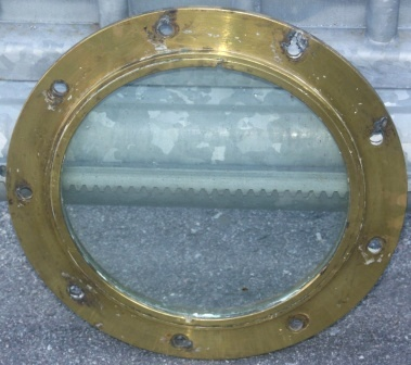 20th century fixed porthole made of brass