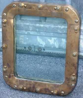 20th century fixed ship's window made of brass
