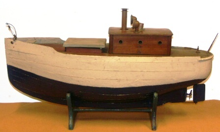 Early 20th century sailor-made wooden steam boat (without engine).