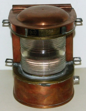 Mid 20th century copper masthead light. Marked B.T. #238.